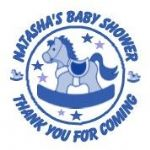 Personalised Blue Rocking Horse Baby Shower Party Stickers
